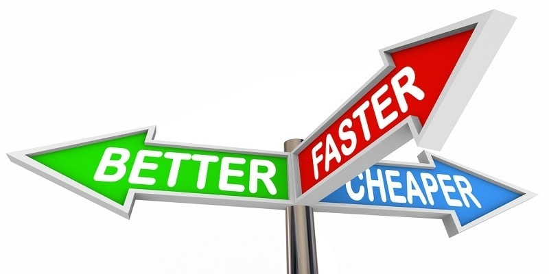 Better Faster Cheaper Three Benefits Features Signs