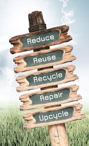 Wooden sign with Reduce, Reuse, Recycle, Repair and Upcycle word