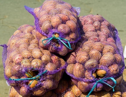 potatoes of nets for sale folded for transportation