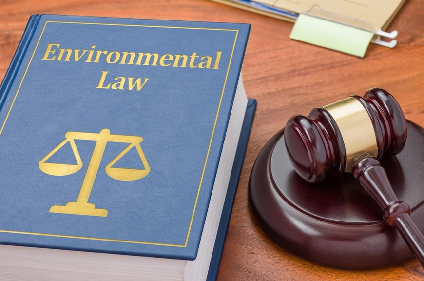 A law book with a gavel - Environmental law