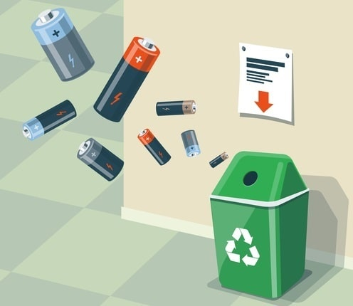 Used Batteries Recycling Bin Trash