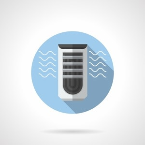 Evaporative air cooler with ionizer element. Air conditioning equipment. Electrical appliance blowing cold and pure air. Round flat color style vector icon.