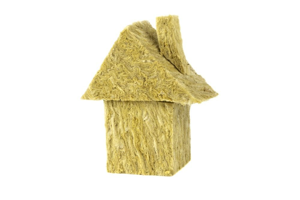 mineral wool, house made of cotton wool isolated on white backgr