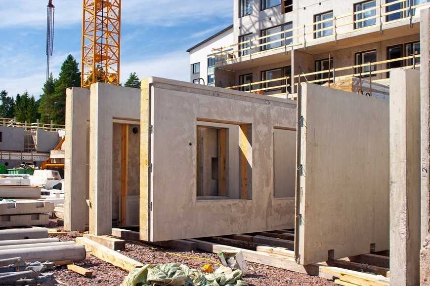 *** Local Caption *** Precast concrete wall panels in the construction site