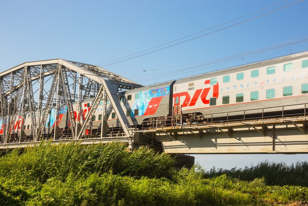 Two-storeyed morning Sochi train of Russian railways