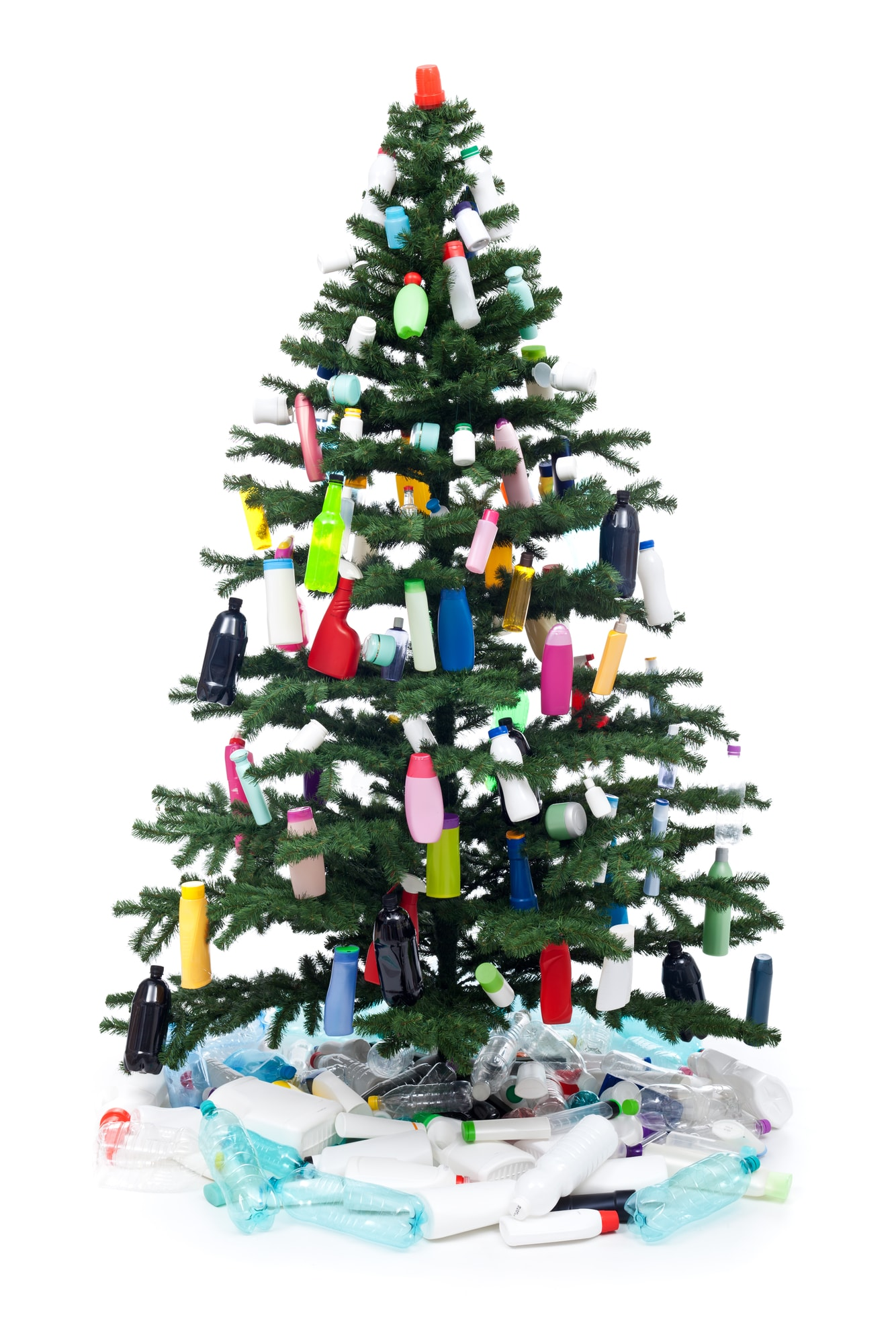 Plastic bottles waste decorating a christmas tree - environment concept