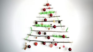 Nature friendly creative Christmas tree arrangement on white