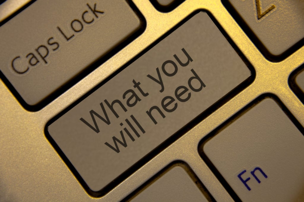 What you will need text on laptop keyboard
