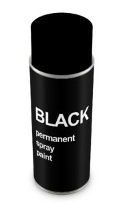 Black spray paint in white background