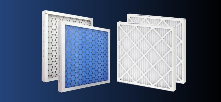 Fiberglass Furnace Filters and Pleated in dark background