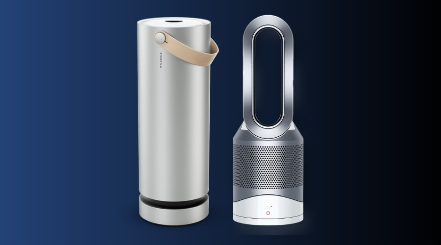 Molekule and Dyson Pure Cool in dark blue background